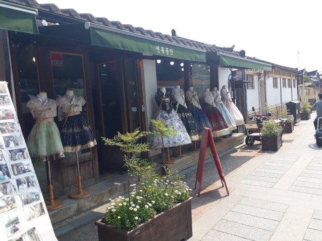 Hanbok rental shop at Jeonju Hanok Village